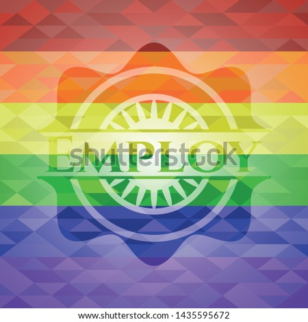 Employ on mosaic background with the colors of the LGBT flag