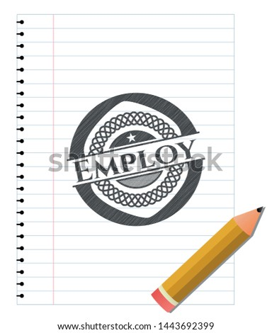 Employ pencil emblem. Vector Illustration. Detailed.