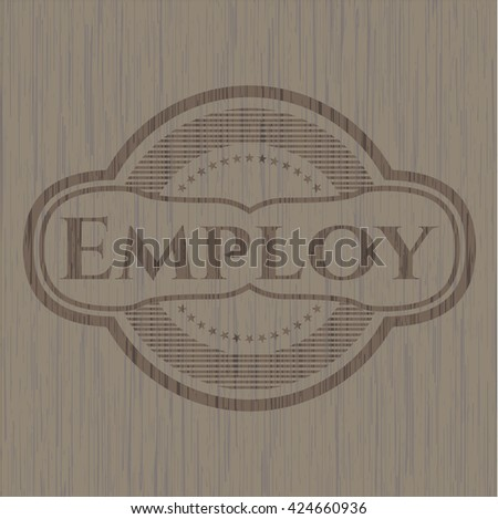 Employ retro style wooden emblem