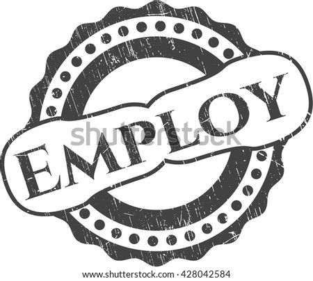 Employ rubber stamp with grunge texture