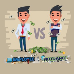 employee and freelance. character design. Freelancing vs Full-Time Employment concept  - vector illustration