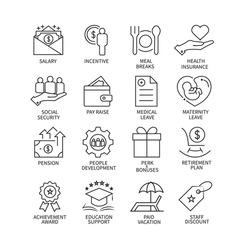 Employee benefits line icon set on white background.Vector illustration.