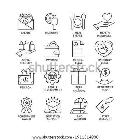 Employee benefits line icon set on white background.Vector illustration. Photo stock ©