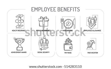 EMPLOYEE BENEFITS - Line icons Concept
