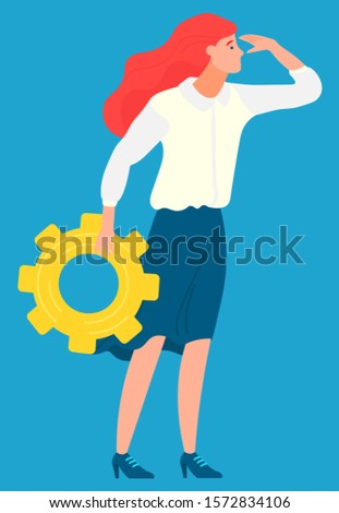 Employee character holding cogwheel, business ambitions. Worker developing, woman setting, company innovation, creative idea, development technology vector