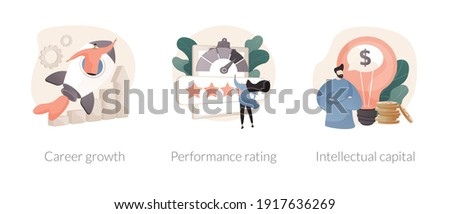 Employee efficiency abstract concept vector illustration set. Career growth, performance rating, intellectual capital, company challenge and success, job position scoring system abstract metaphor. Foto stock ©