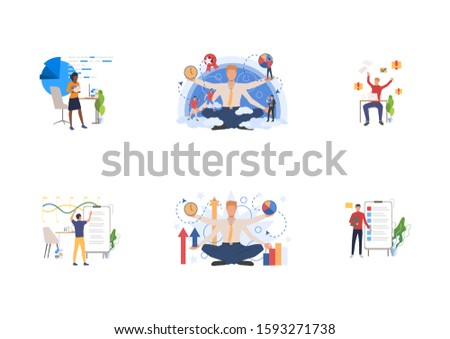 Employee efficiency set. Managers solving tasks and challenges at workplaces. Flat vector illustrations. Self management, multitasking concept for banner, website design or landing web page