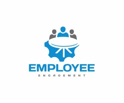 Employee engagement logo design. Business team meeting vector design. Human resource management logotype