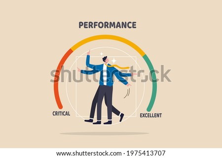 Employee evaluation, appraisal for work performance assessment, rating for performance bonus concept, businessman in the middle of rating gauge meter pointing to evaluate annual rating.