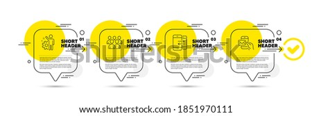Employee, Group and Phone communication line icons set. Timeline infograph speech bubble. Messenger mail sign. Cogwheel, Developers, Incoming and outgoing calls. New e-mail. Education set. Vector