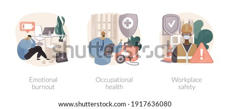 Employee health abstract concept vector illustration set. Emotional burnout, occupational health, workplace safety, overload, injury prevention, labor condition, working environment abstract metaphor. Foto stock ©