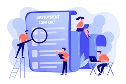 Employee hiring. Business document. HR management. Employment agreement, employment contract form, employee and employer relations concept. Pink coral blue vector isolated illustration