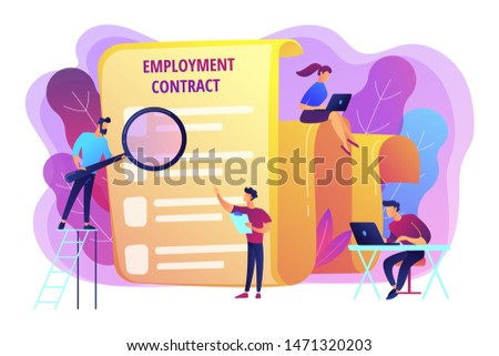 Employee hiring. Business document. HR management. Employment agreement, employment contract form, employee and employer relations concept. Bright vibrant violet vector isolated illustration