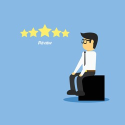 Employee man waiting for review feedback vector illustration. Review concept isolated in blue.