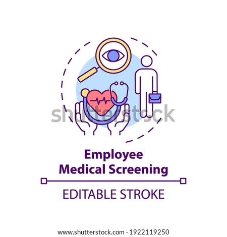 Employee medical screening concept icon. Workplace wellness program idea thin line illustration. Regular health check-ups. Medical exams. Vector isolated outline RGB color drawing. Editable stroke Photo stock ©