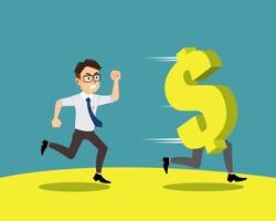 Employee of chasing money cartoon