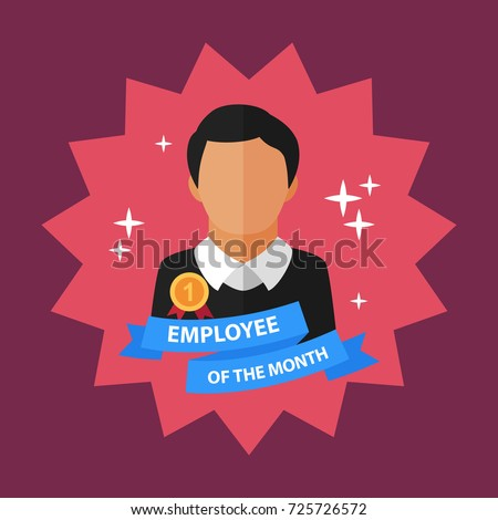 Employee of the month flat concept. Vector illustration. Element template for design.