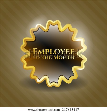 Employee of the Month gold shiny badge