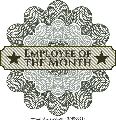 Employee of the Month inside money style emblem or rosette