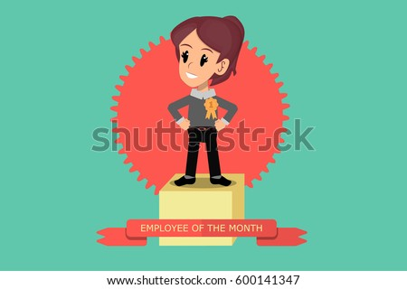 Employee of the Month. Motivated employee woman receives first prize in winners' podium