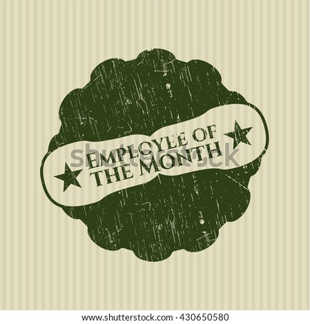 Employee of the Month rubber stamp with grunge texture