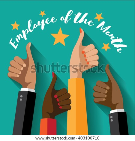 Employee of the month thumbs up poster flat design. EPS 10 vector.