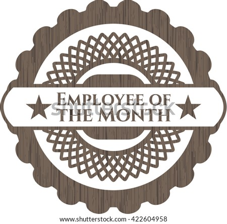 Employee of the Month wooden emblem. Vintage.
