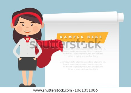 Employee or businessman and blank paper vector design