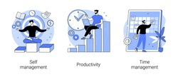 Employee performance and self-organization abstract concept vector illustration set. Self and time management, productivity, motivation software, effective job planning, control abstract metaphor.