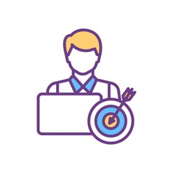 Employee performance improvement RGB color icon. Boosting worker morale. Skills development. Tasks and goals fulfilling efficiency. Achieving better company results. Isolated vector illustration