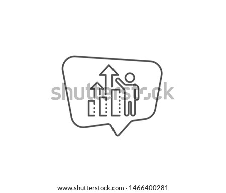 Employee results line icon. Chat bubble design. Work result sign. Statistics chart symbol. Outline concept. Thin line employee results icon. Vector