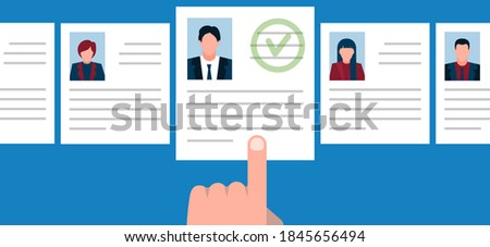 employee resume selection.recruitment banner. selected employee. human resources. Employment, job search, recruitment, recruiting, hr concepts.personnel selection.Job vacancy.concept search employee