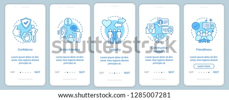 Employee soft qualities onboarding mobile app page screen vector template. Communication skills. Empathy, friendliness, confidence. walkthrough website steps. UX, UI, GUI smartphone interface concept