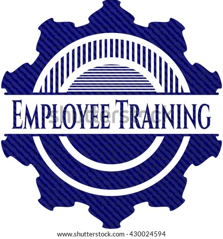 Employee Training badge with jean texture