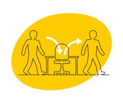 Employee turnover in human resources - act of replacing a worker with a new worker that measured as a percentage rate - two people icons (working staff) and office chair inside yellow bubble