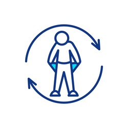 Employee turnover RGB color icon. Replace worker. Unemployment problem. Economic trouble. Potential for homelessness due to lack on finance. Substitute for job position. Isolated vector illustration