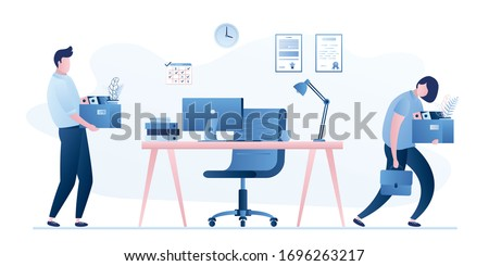 Employee Turnover. Staff replacement. Modern workplace in office. Dismissal and employment process in company. Male and female office workers. Trendy flat vector illustration Foto stock ©