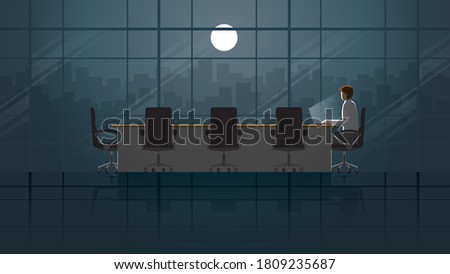 Employee working on laptop in office meeting room. Alone in the dark and light from full moon. Lonely people in the city. Lifestyle of work hard overtime and overwork. Idea illustration concept scene. Stockfoto ©