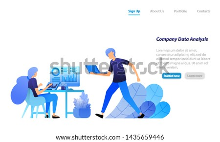 employees analyze company statistical data. search for and solve corporate problems in data analysis. vector illustration concept for landing page, web, ui, banner, flyer, poster, template, background