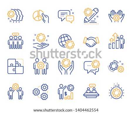 Employees benefits line icons. Business strategy, handshake and people collaboration. Teamwork, social responsibility, people relationship icons. Growth chart, employees benefits. Vector
