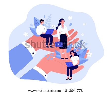 Employees care concept. Giant human hands holding and supporting tiny business professionals. Vector illustration for trade union, corporate insurance, employees wellbeing, benefits topics