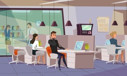 Employees in office flat vector illustration. Workers, managers using laptops at workplace cartoon characters. Coworking workspace, open office. Helpline assistant  operator wearing headset