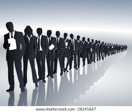 employees of a company form a queue