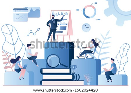Employees with laptops learning at professional training. Internal education, staff training or education, professional development program concept.Business teacher on top.Trendy vector illustration