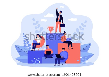 Employees working and competing for success on career growth ladder. Vector illustration for corporate hierarchy, career planning, business competition, leadership concept Stock foto ©