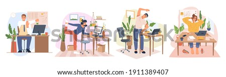 Employees working from home or office stretching and doing small exercises at workplace to get rest and relaxation. Removing tension and muscle soreness. Cartoon characters, vector in flat style Foto stock ©