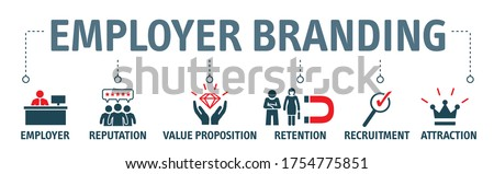 employer branding. Pay Raise, Reputation, value proposition, retention, recruitment and branding Vector Icon Concept Сток-фото ©