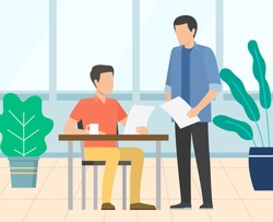 Employer talking to novice employee vector, man reading paper. Report of assistant, page with stats and information on project, office cozy interior
