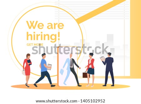Employment agency searching for job applicants. HR, headhunting, hiring concept. Presentation slide template. Vector illustration for topics like business, recruitment, employment