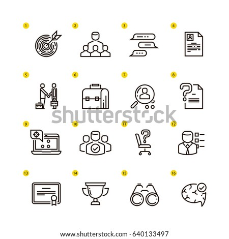 Employment and hiring vector line icons. Business icon set
